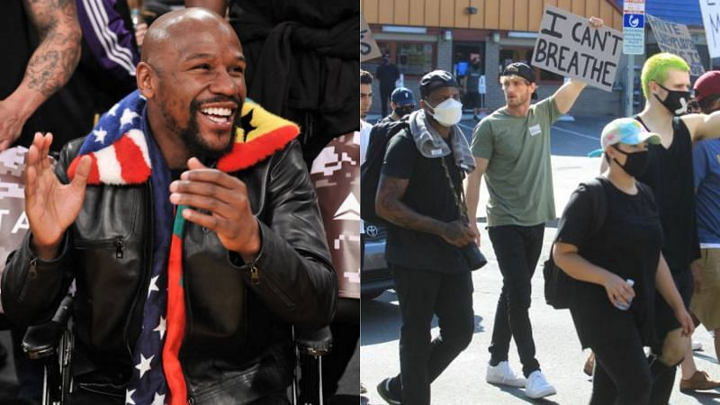 Floyd Mayweather Jr. (L) and Logan Paul involved in a protest (R)