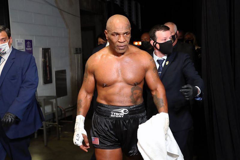 Mike Tyson exits the ring