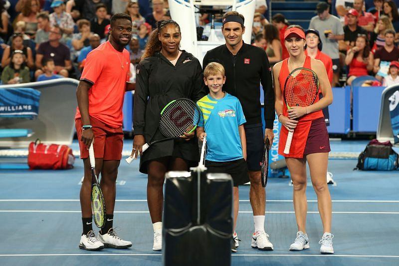 Frances Tiafoe , Serena Williams, Roger Federer and Belinda Bencic at the 2019 Hopman Cup