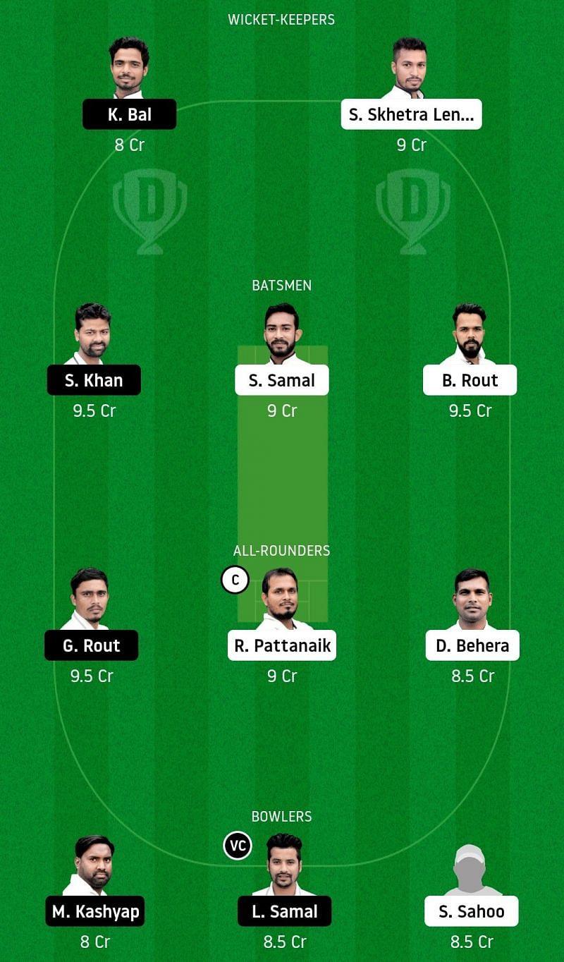 Dream11 Team for Odisha Lions vs Odisha Jaguars match at the Odisha Cricket League