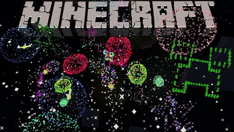 A fireworks display in Minecraft to celebrate for New Year
