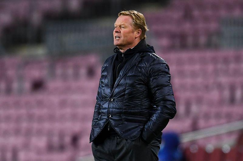 Barcelona manager Ronald Koeman looks on