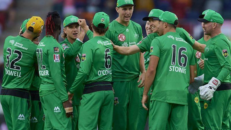 Melbourne Stars celebrate a victory against Sydney Thunder.
