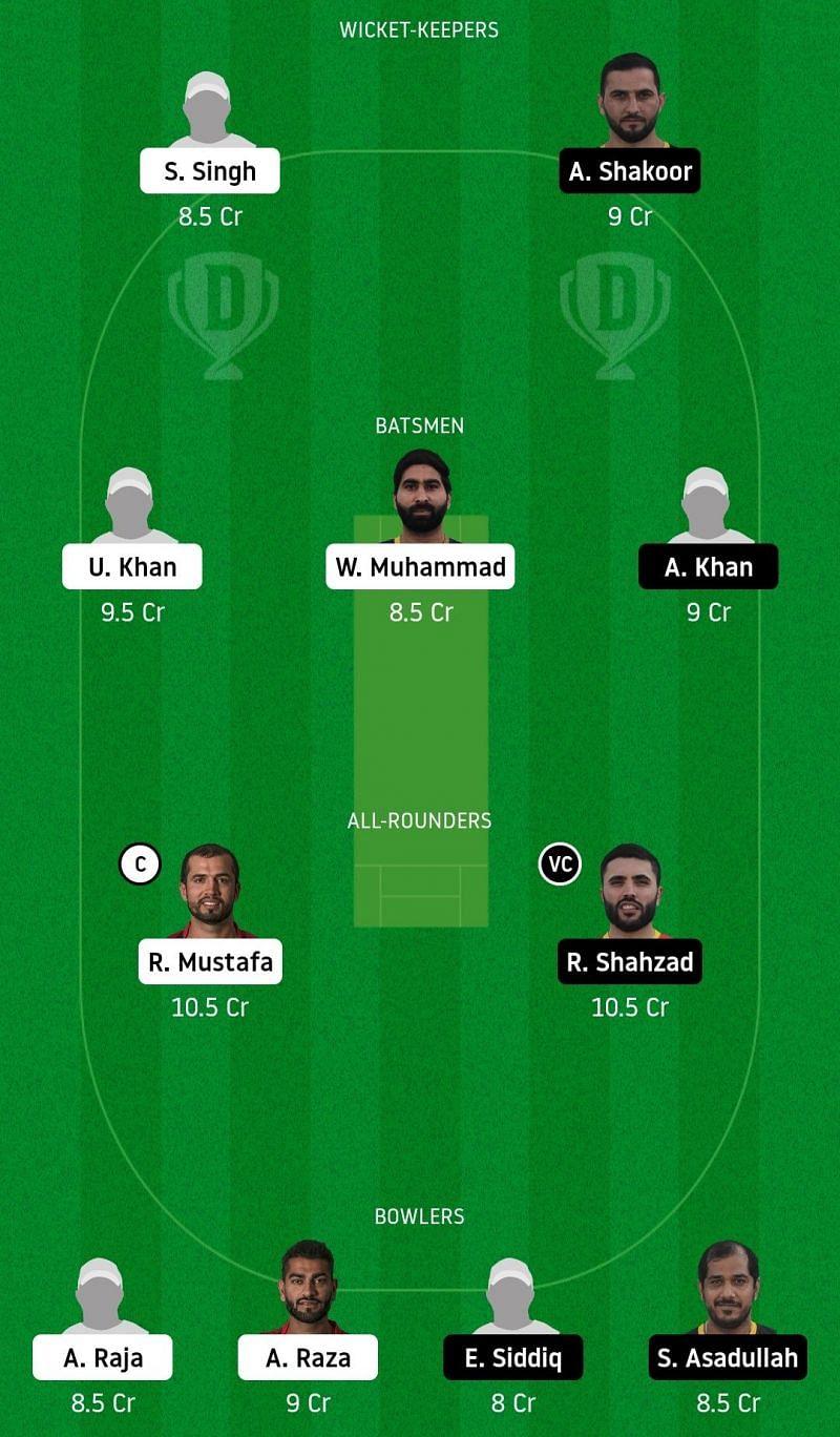 Dream11 Team for Fujairah vs Ajman - Emirates D20.