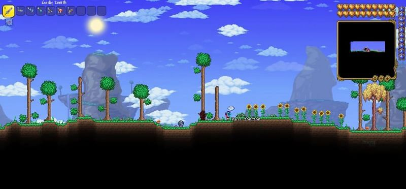 The Party Girl NPC replaces the Guide NPC that is typical encountered open entering the Terraria world for the first time. (Image via Archane0/YouTube)