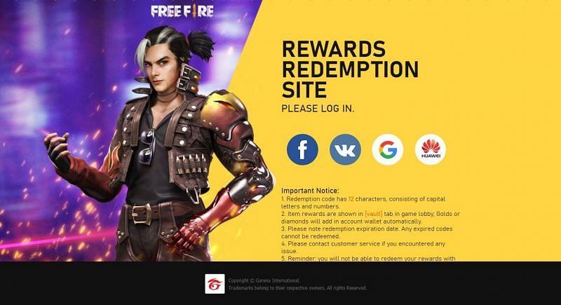 Free Fire redemption website