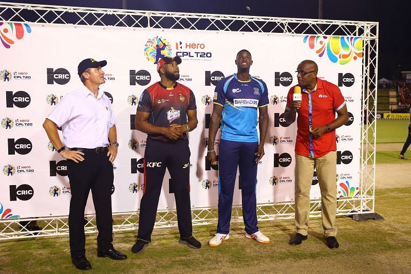 Kieron Pollard and Jason Holder during CPL