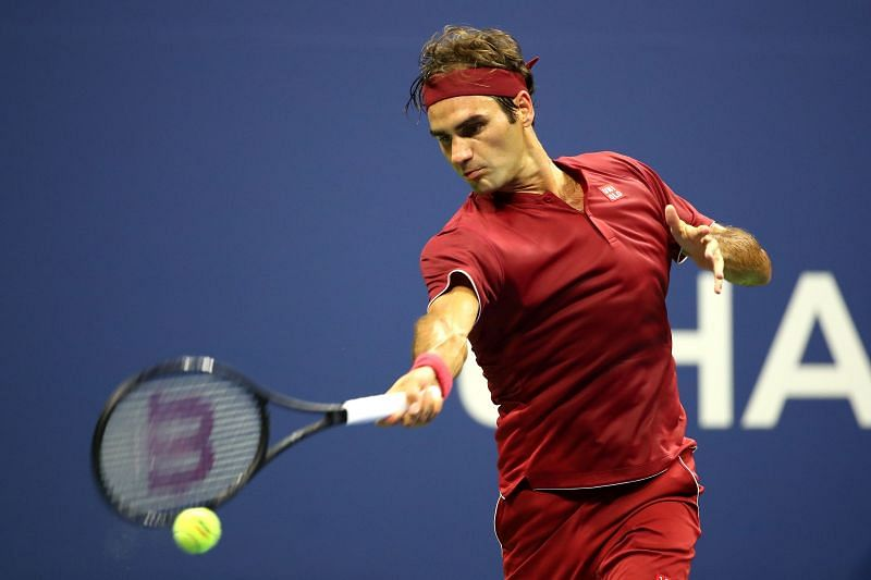 Roger Federer during his match against Yoshihito Nishioka at the 2018 US Open