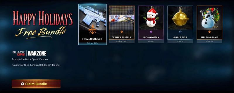The Happy Holidays Free Bundle is available for free on Call of Duty (Image via Treyarch)