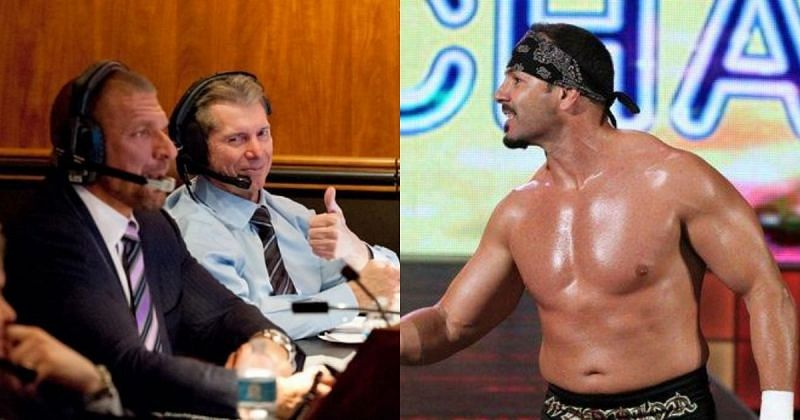 Triple H, Vince McMahon, and Chavo Guerrero.