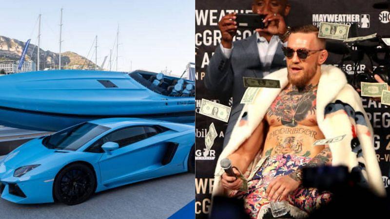 Conor McGregor (R) and his Lamborghini yacht
