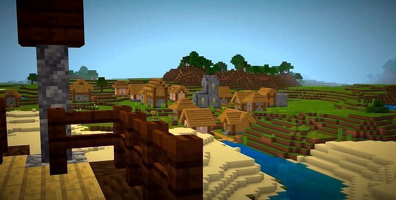 A Minecraft seed with a Village, Desert Temple, Pillager Outpost, & access to a Nether Bastion all near spawn (Image via Minecraft & Chill/YouTube)