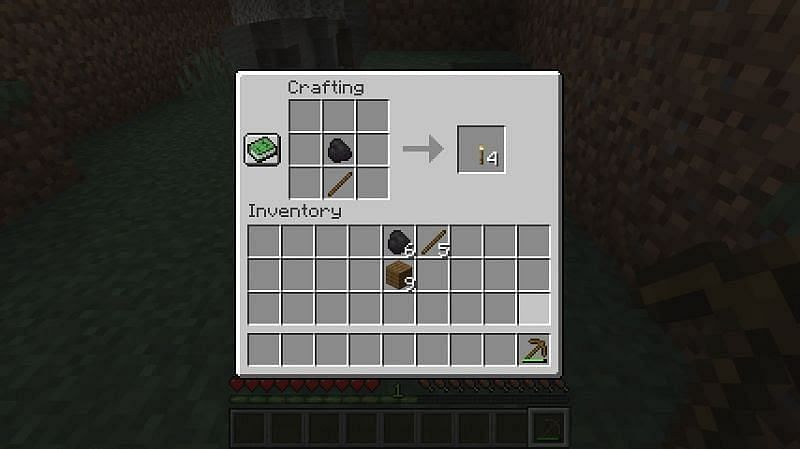 To make torches in minecraft place one piece of coal in the crafting GUI with a stick underneath