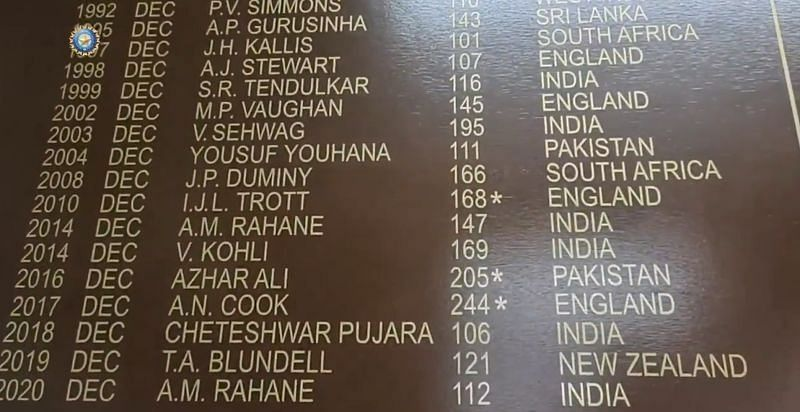 Ajinkya Rahane features on the MCG Honours Board for the second time. Pic: BCCI/ Twitter