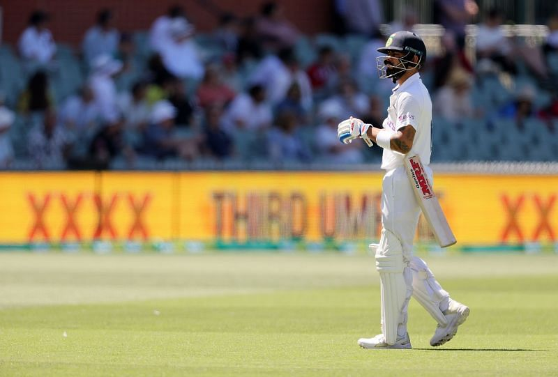 Virat Kohli managed scores of 74 and 4 in the two innings in Adelaide