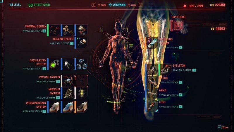 Cyberpunk 2077 Ripperdoc upgrades