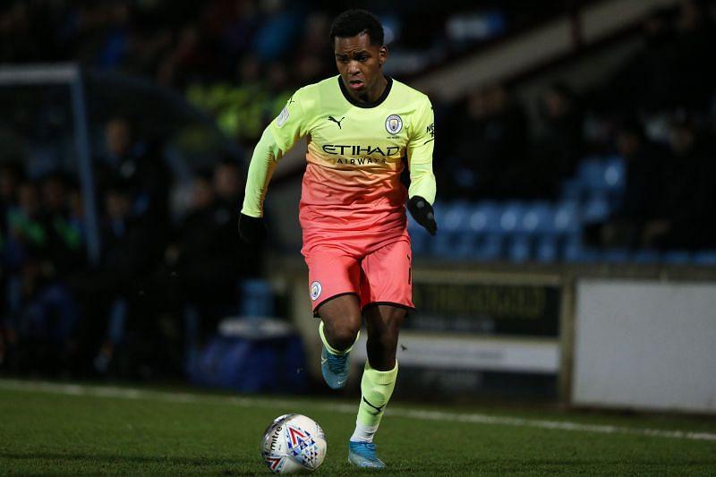 Jayden Braaf in action for Manchester City