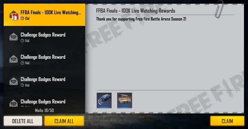 After the redemption is complete, the players can collect the reward from the in-game mail section