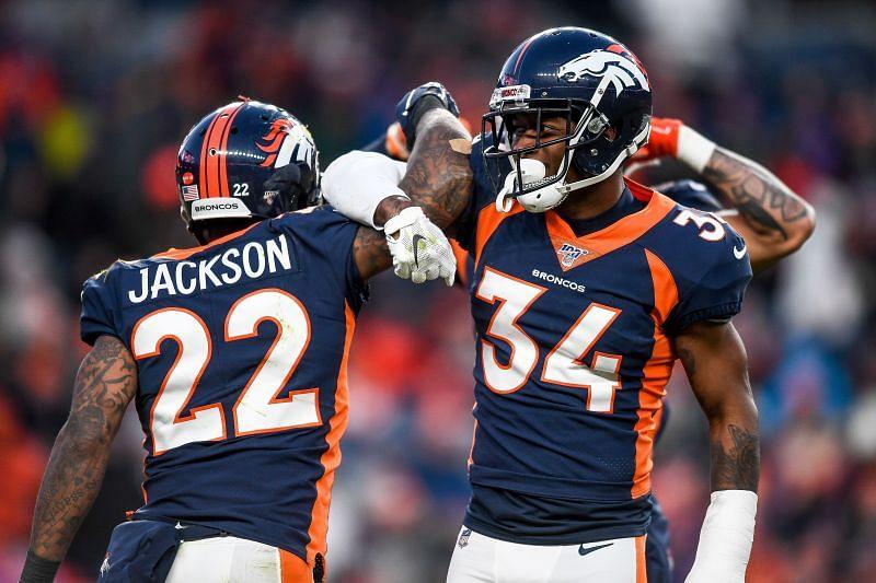 Denver Broncos defensive backs Kareem Jackson and Will Parks