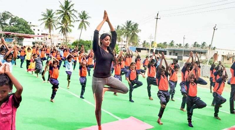 Students practicing Yogasana