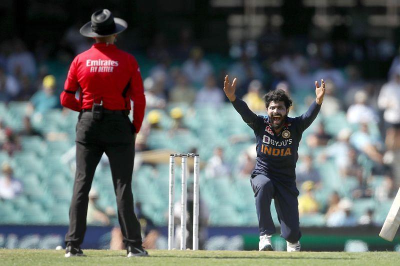 Ravindra Jadeja in action for the Indian team.
