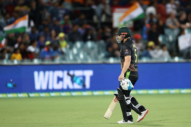 Aaron Finch scored 35 runs in the first T20I against India