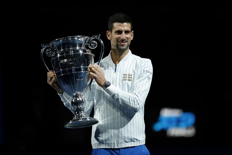 Novak Djokovic with his 6th year-ending No.1 ranking trophy