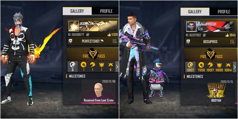 Free Fire IDs of RUOK FF and Sultan Proslo