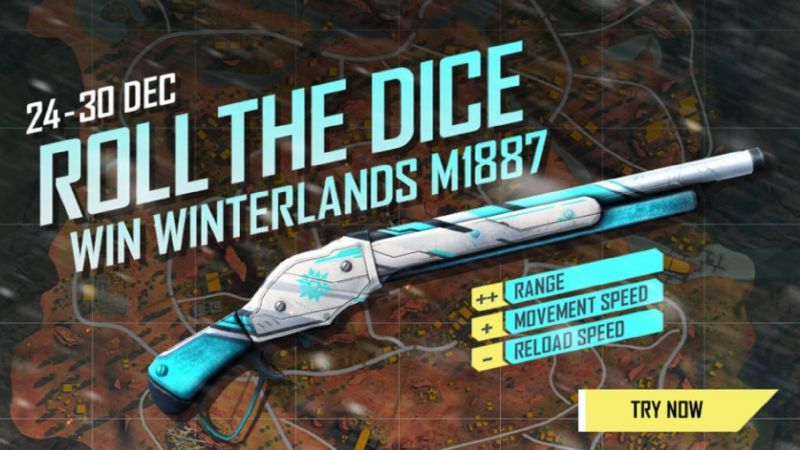 Garena Free Fire players stand a chance to win the new Winterlands M1887 skin in the 'Roll the Dice' event
