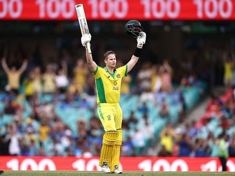 Steve Smith celebrates his century in the ODI series versus India.