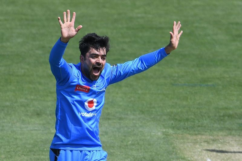 Rashid Khan took a fine catch to help dismiss Colin Ingram