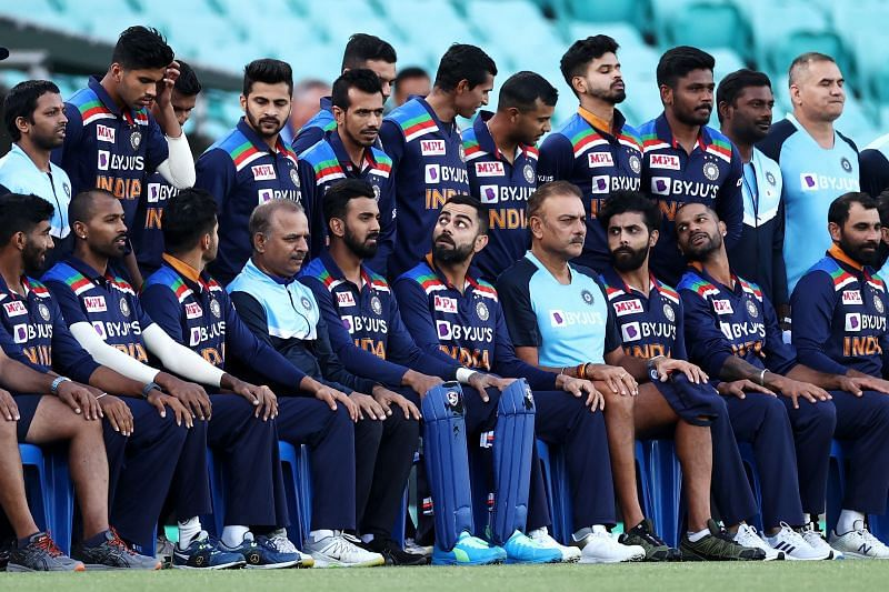 Virat Kohli and India pose for a team photo before the game