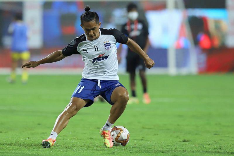 Bengaluru FC captain Sunil Chhetri trains for the match against Chennaiyin FC