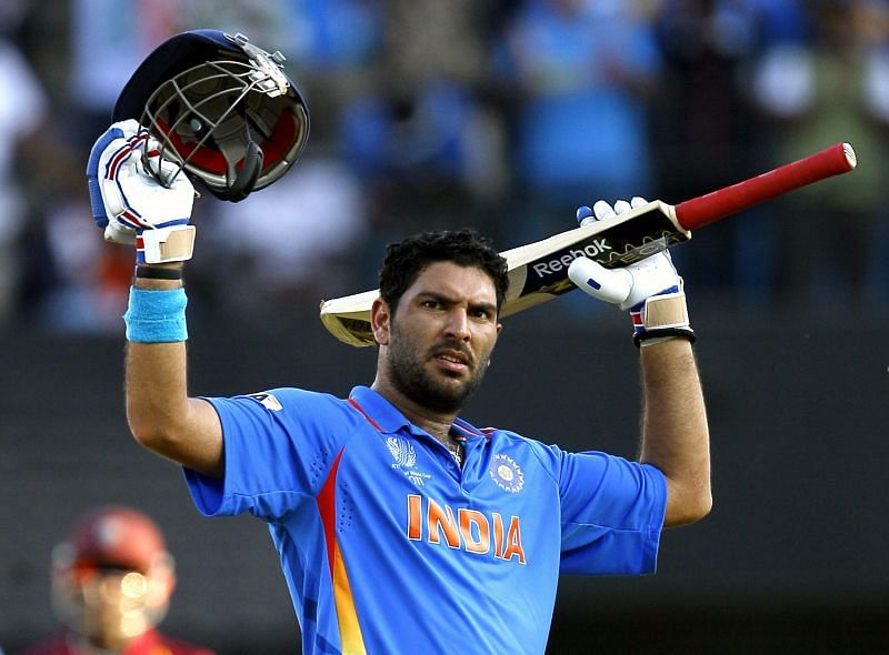 Yuvraj Singh playing for India at the 2011 World Cup.
