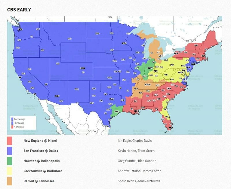 NFL Week 15 coverage map: CBS early games