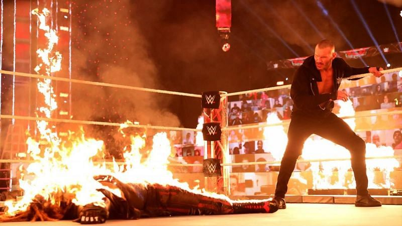 Randy Orton set fire to The Fiend at WWE TLC 2020.