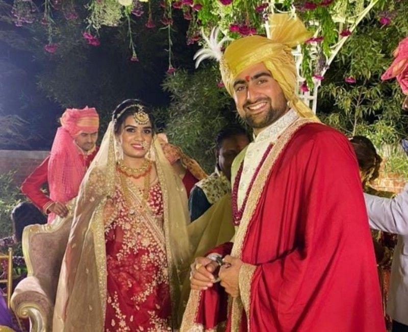 Rahul Chaudhari and Hetali Brahmbhatt at their marriage ceremony.