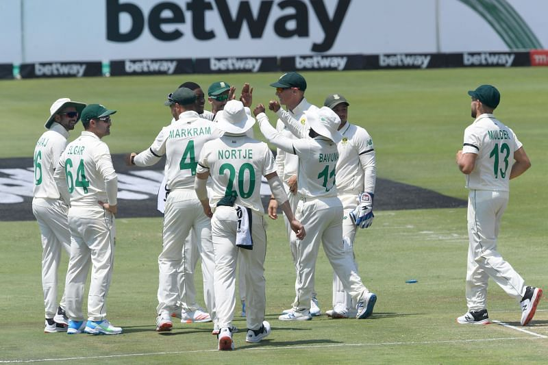 South Africa players celebrate a wicket in the first Test