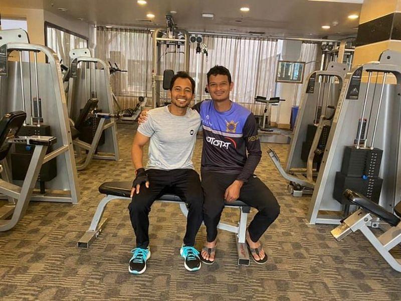 Mushfiqur Rahim with Nasum Ahmed. Pic:Mushfiqur Rahim/ Facebook