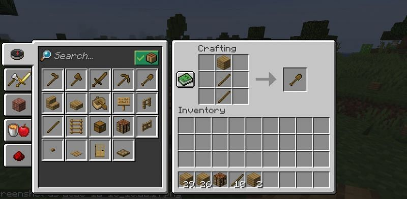 The crafting recipe for a wooden shovel in Minecraft (Image via Minecraft)
