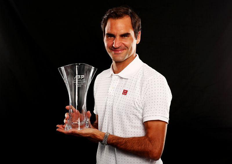 Roger Federer with his 2019 ATP Fans