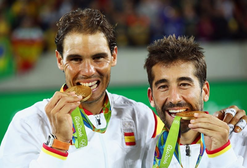 Rafael Nadal and Marc Lopez with their doubles gold medal at the 2016 Olympics in Rio de Janeiro