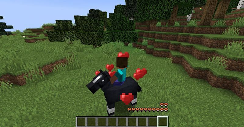 Successfully taming a horse in Minecraft. (Image via Minecraft)