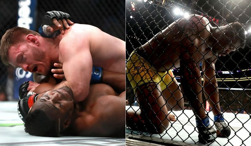 Stipe Miocic and Francis Ngannou (R)