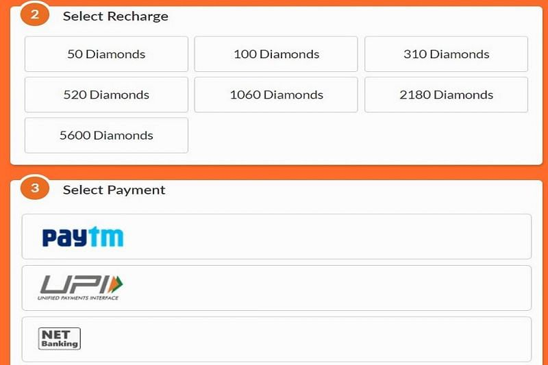 Choose the recharge and payment option