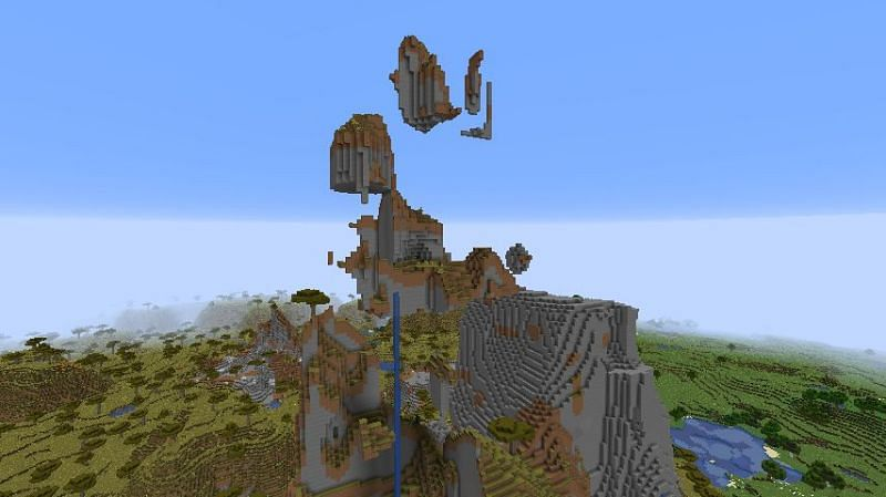 A collection of shattered levitating islands (Image via Minecraft)