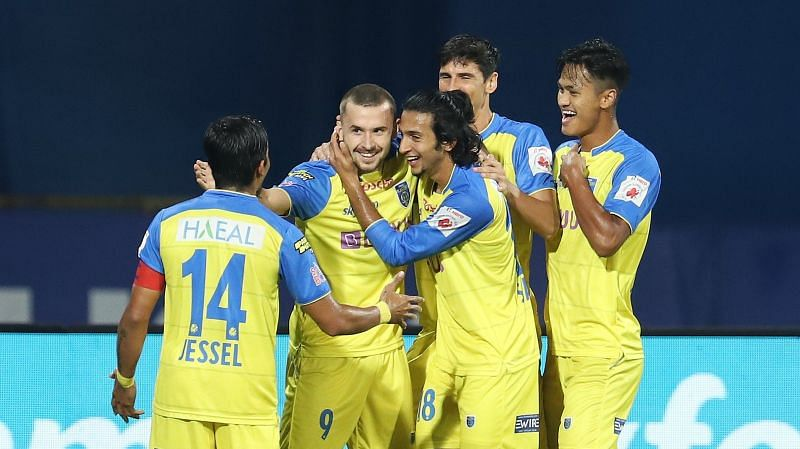 Kerala Blasters FC move onto 13 points with this thrilling result. Courtesy: ISL