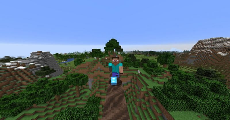Steve wearing a pair of diamond boots enchanted with Soul Speed in Minecraft (Image via Minecraft)