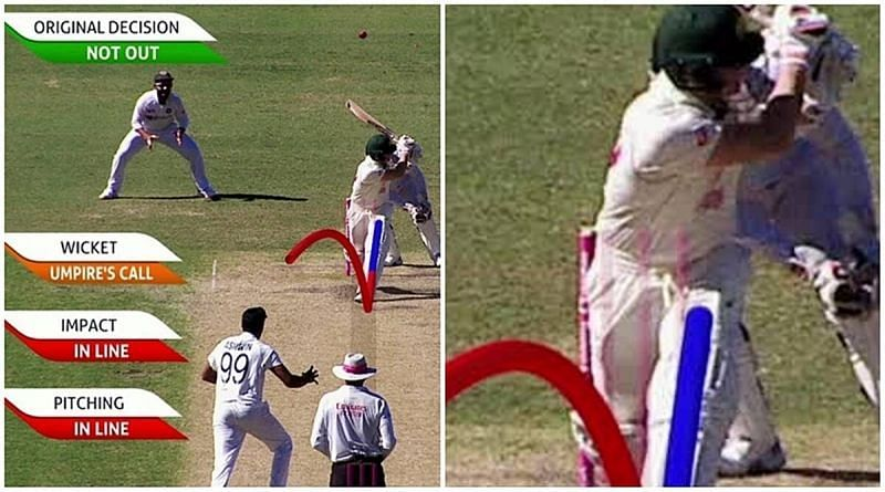 The contentious replay that showed the fourth stump (Image: Cricket Australia/ Twitter)