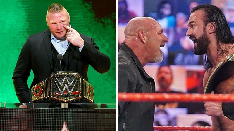Brock Lesnar (left); Drew McIntyre and Goldberg (right)